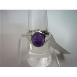 NATURAL  32.00 CTW AMETHYST RING .925 STERLING SILVER