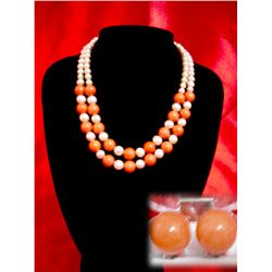 NATURAL 550 CTW FRESWATER PEARL WITH  ORANGE CORAL DOUB