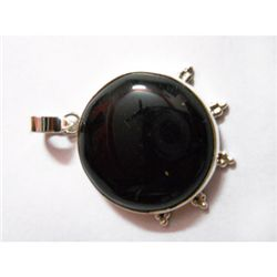 Natural 47.00 ct Black Onex Round Pendant .924 Sterling