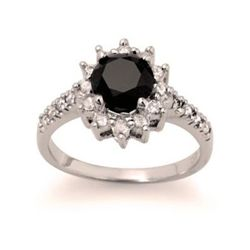 Genuine 2.46 ctw Black Diamond Ring 14kt Gold-White