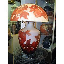 Galle Signed Table Lamp with Floral Decoration in Shades of Orange