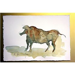 Frederic Remington Original Watercolor on Paper -Lone Bull