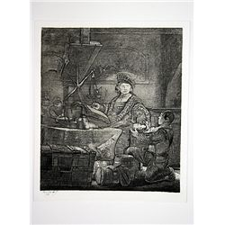 Rembrandt Etching - The Goldweigher - Printed by A. Durand