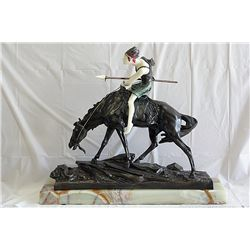 Signed E. Drouot Bronze and Ivory - The Hunter