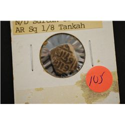1316-1320 AD India N/D Sultan of Delhi AR Sq 1/8 Tankah Foreign Coin; EST. $90-150