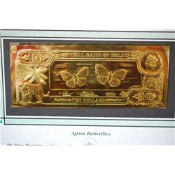 "Central Bank Of Belize $10 Foreign Bank Note; ""Agrias Butterflies""; The First Gold Bank Notes Of Bel"