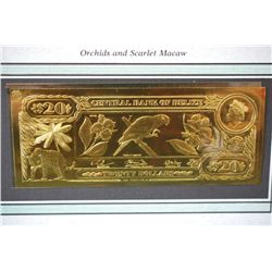 "Central Bank Of Belize $20 Foreign Bank Note; ""Orchids and Scarlet Macaw""; The First Gold Bank Notes"