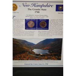 2000 New Hampshire State Quarter Coin Set W/US Postal Stamps; P&D Mints; EST. $5-10
