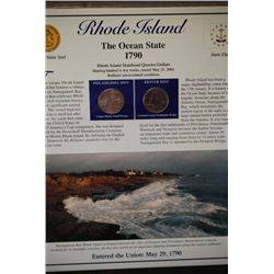 2001 Rhode Island State Quarter Coin Set W/US Postal Stamps; P&D Mints; EST. $5-10