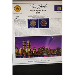 2001 New York State Quarter Coin Set W/US Postal Stamps; P&D Mints; EST. $5-10