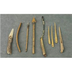 Eskimo - Eskimo Artifacts: Tools, Arrow Points, Awls, and Fire Starter Drill Rest (14 items/1 tray,