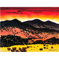 Emil J. Bisttram - Dark Mountains Red Sky