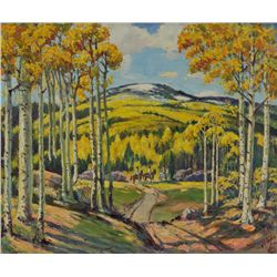 J. R. Willis - Road Through the Aspens, Near Taos, N.M.