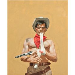 Tom Ryan - Study for book cover illustration for The Outlaw by Ernest Haycock, (Pocket Book)