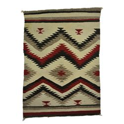 Navajo - Rug with Red, Black, White and Gray Diamond Designs and Striped Edges