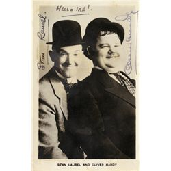 LAUREL AND HARDY PHOTO CARD SIGNED BY BOTH