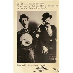 LAUREL AND HARDY PHOTO CARD SIGNED BY STAN LAUREL