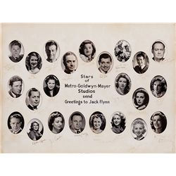 EXTRAORDINARY MGM 1934 SPECIAL PRESENTATION PHOTO-MONTAGE SIGNED BY THEIR TOP 25 STARS