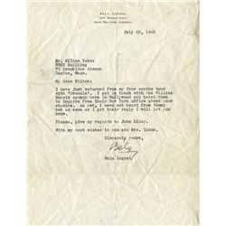 "BELA LUGOSI SIGNED LETTER MENTIONING HIS ""FOUR MONTHS TOUR WITH DRACULA"""