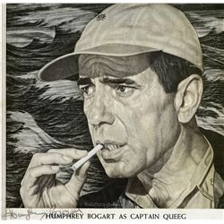 HUMPHREY BOGART PAIR OF SIGNATURES: VINTAGE MAGAZINE PRINT, AND AUTOGRAPH-BOOK PAGE