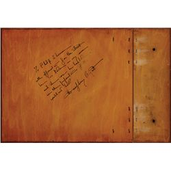 HUMPHREY BOGART INSCRIBED WOOD-PANEL CUSTOM SCRAPBOOK COVER