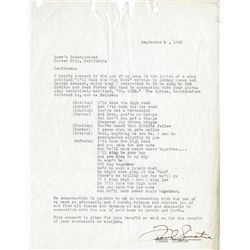 FRANK SINATRA SIGNED SONG PERMISSION DOCUMENT