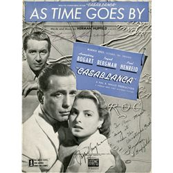 "CASABLANCA SHEET MUSIC, ""AS TIME GOES BY"" SIGNED BY INGRID BERGMAN, PAUL HENREID, & COMPOSER HUPFELD"