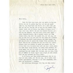 INGRID BERGMAN SIGNED LETTER TO A FRIEND, IN SWEDISH