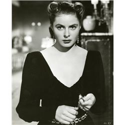 (2) INGRID BERGMAN MATTED PHOTOS WITH SIGNATURE AND NOTE.