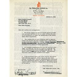 ROSALIND RUSSELL SIGNED RADIO CONTRACT