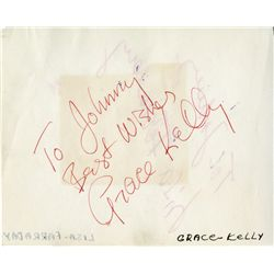 GRACE KELLY SIGNED ILLUSTRATION & INSCRIBED AUTOGRAPH-BOOK PAGE, W/ AARON COPLAND SIGNED NOTECARD