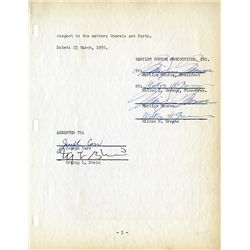 MARILYN MONROE TWICE-SIGNED CONTRACT FOR A WARNER BROTHERS LOAN FOR ACQUISITION