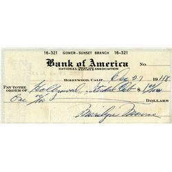 MARILYN MONROE SIGNED CHECK