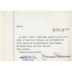 JAMES DEAN HAND SIGNED IOU