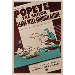 "POPEYE THE SAILOR ""LEAVE WELL ENOUGH ALONE"" ORIGINAL 1939 1-SHEET POSTER ON LINEN."