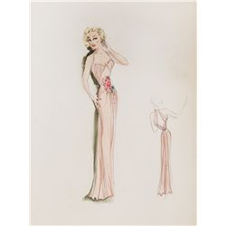PAIR OF EDITH HEAD COSTUME SKETCHES FOR LIZABETH SCOTT FROM PAID IN FULL