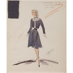 EDITH HEAD COSTUME SKETCH FOR BARBARA STANWYCK FROM THE FILE ON THELMA JORDUN