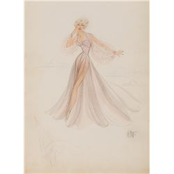 EDITH HEAD COSTUME SKETCH FOR BETTY HUTTON FROM LET'S DANCE