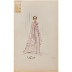 EDITH HEAD COSTUME SKETCH FOR GLORIA SWANSON FROM SUNSET BOULEVARD