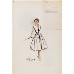 PAIR OF EDITH HEAD COSTUME SKETCHES FOR ELIZABETH TAYLOR FROM A PLACE IN THE SUN