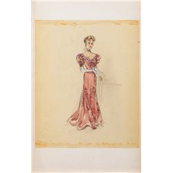 EDITH HEAD COSTUME SKETCH FOR JOAN FONTAINE FROM DARLING HOW COULD YOU?