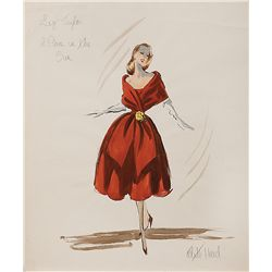 EDITH HEAD COSTUME SKETCH OF ELIZABETH TAYLOR FROM A PLACE IN THE SUN