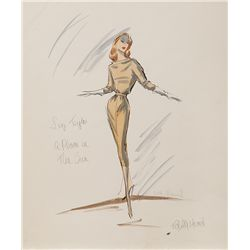 EDITH HEAD COSTUME SKETCH OF ELIZABETH TAYLOR FROM A PLACE IN THE SUN COSTUME SKETCH