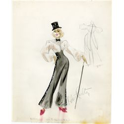 ROBERT CARLETON COSTUME SKETCH FOR ETHEL MERMAN FIR THE DINAH SHORE SHOW