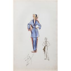 EDITH HEAD COSTUME SKETCH FOR MARILYN MAXWELL FROM THE LEMON DROP KID