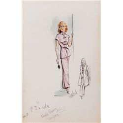 EDITH HEAD COSTUME SKETCH FOR RHONDA FLEMING FROM HONG KONG