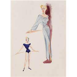 EDITH HEAD COSTUME SKETCH FOR BETTY HUTTON FROM THE GREATEST SHOW ON EARTH