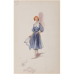 EDITH HEAD COSTUME SKETCH OF DEBORAH KERR FOR THUNDER IN THE EAST