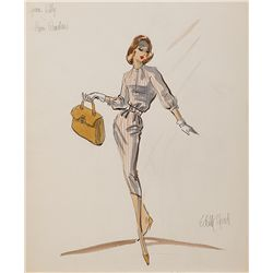 EDITH HEAD COSTUME SKETCH OF GRACE KELLY FROM REAR WINDOW