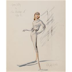 EDITH HEAD COSTUME SKETCH OF GRACE KELLY FROM THE BRIDGES AT TOKO-RI